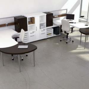 Mirrored Workstations with Extended Meeting Surfaces