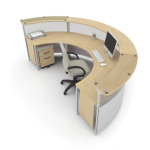 180 Degree Reception Desk with Mobile Storage