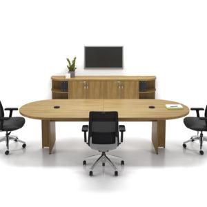 Racetrack Boardroom Table and Credenza