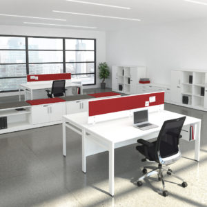 TakeOff Workstations with Tackboard Privacy Screens