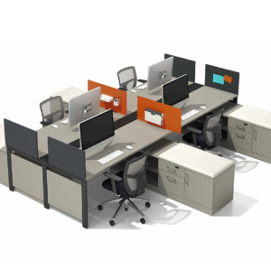 Benching Workstations with Privacy Panels and Storage Accessories