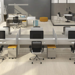 Open Concept Work Space with Mobile Pedestals