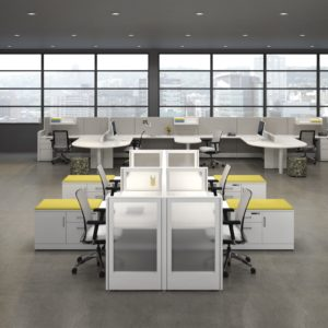 Uni-T Workstation with Frosted Acrylic End Panels
