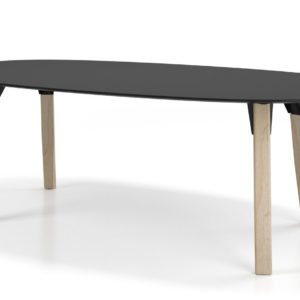 Ovo Conference Table with Wood Legs