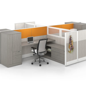 Uni-T Workstations with Layered Storage and Accent Fabric
